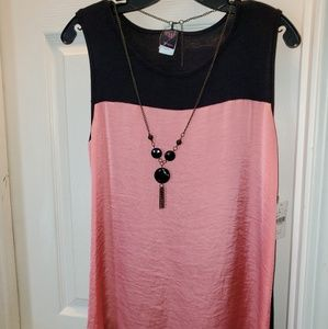 Black and Pink Dress Shirt with Necklace